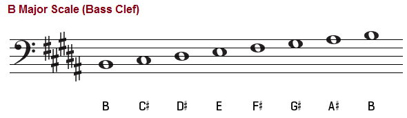 B major scale, bass clef