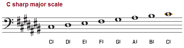 C sharp major scale, bass clef