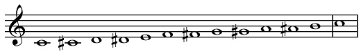 chromatic scale, ascending