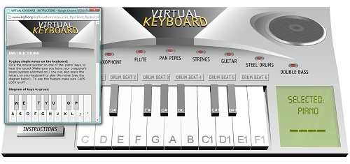 Free computer keyboard piano simulator