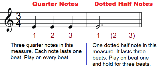 The dotted half note (dotted minim)
