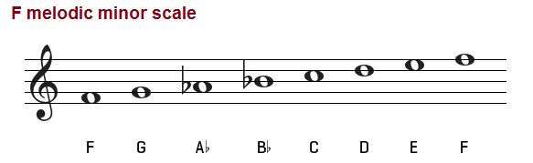 The F melodic minor scale on the treble clef.