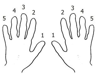 Piano finger numbers.