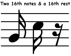 sixteenth notes and rest