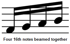 sixteenth (16th) notes beamed