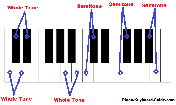 whole tones and semitones on piano