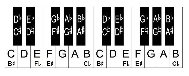 Piano keys and notes layout