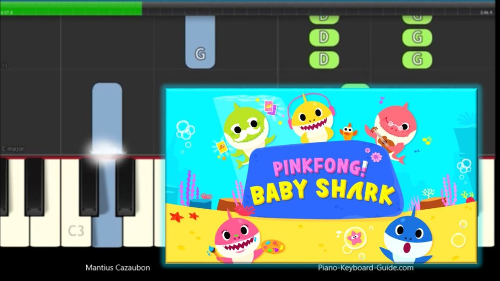 Pinkfong Baby Shark Song Slow & Easy Piano Tutorial – Notes