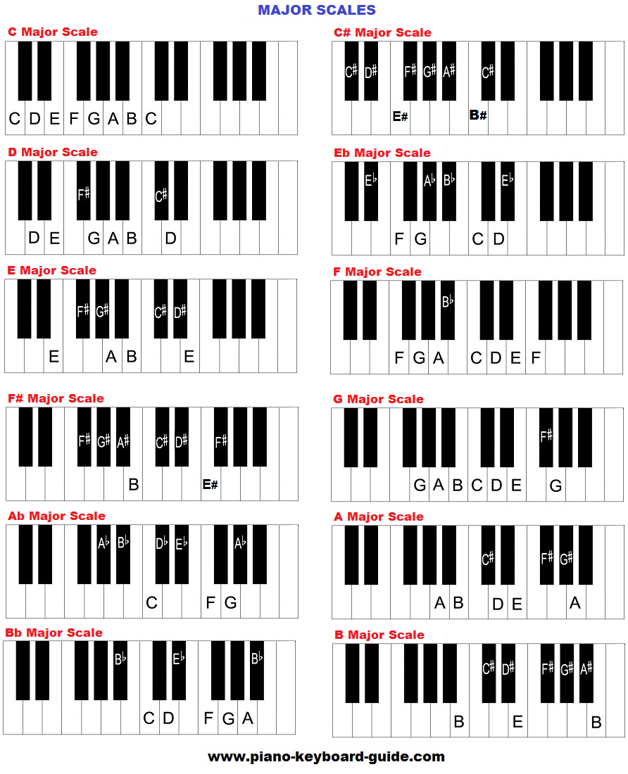 This is a photo of Piano Scales Printable pertaining to printable chord progression chart